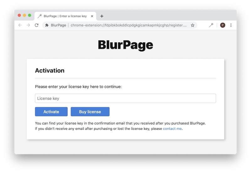 Activate the BlurPage extension